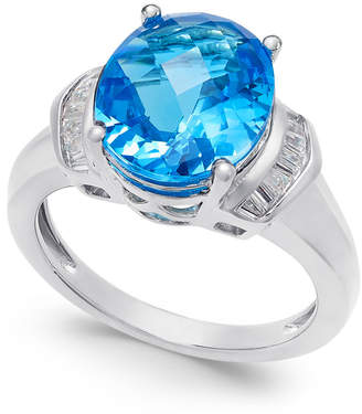 Macy's Swiss Blue Topaz (4-9/10 ct. t.w.) and White Topaz (1/4 ct. t.w.) Ring in Sterling Silver