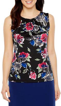 CHELSEA ROSE Chelsea Rose Sleeveless Keyhole Neck Floral Blouse