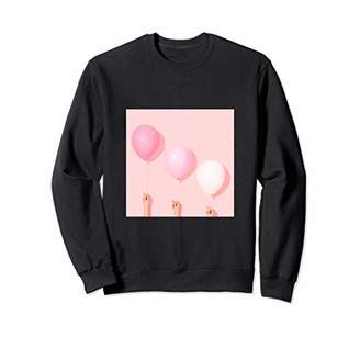 Pink birthday balloon sweatshirt minimalist design