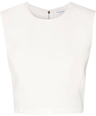 Mugler - Cropped Croc-effect Leather-trimmed Crepe Top - White $575 thestylecure.com