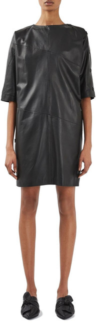 Topshop TOPSHOP Snap Leather Dress