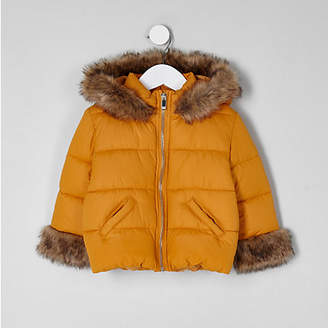 River Island Mini girls yellow faux fur padded coat