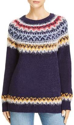 Aqua Fair Isle Eyelash Chenille Sweater - 100% Exclusive
