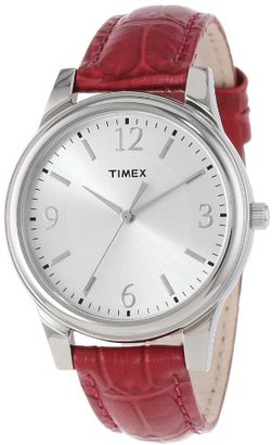 Timex Women's T2P091TN Dark Pink Croco Patterned Leather Strap Watch $50 thestylecure.com
