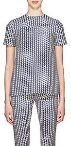 Valentino Women's V-Print Wool-Silk Top - Blue