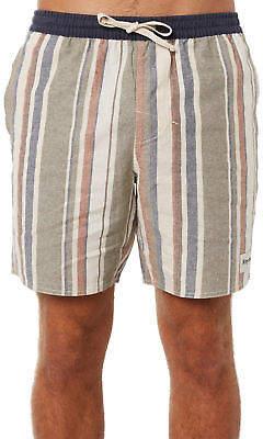 rhythm New Men's Vacation Stripe Jam Mens Short Linen Green