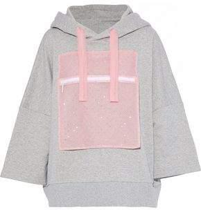 Christopher Kane Crystal-Embellished Tulle-Paneled Cotton-Terry Hooded Sweatshirt