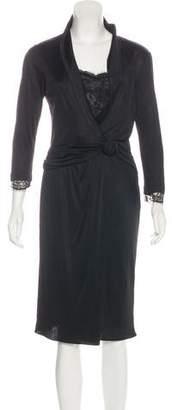 Blumarine Lace-Trimmed Midi Dress