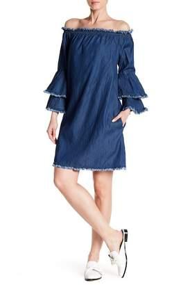 ECI Off-the-Shoulder Denim Dress