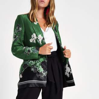 River Island Womens Petite green floral blazer