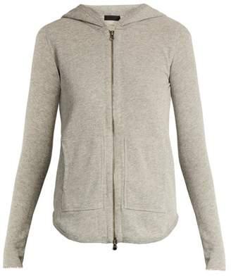 Atm - Zip Front Cotton Blend Hooded Sweatshirt - Womens - Grey