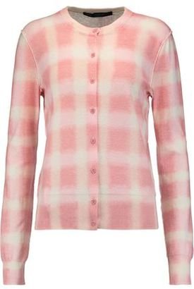 Marc By Marc Jacobs Blurred Plaid Printed Cotton Cardigan