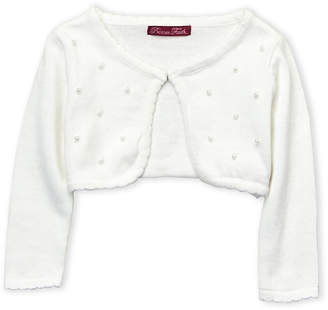 R & E Princess Faith (Infant Girls) Faux Pearl Accented Cardigan