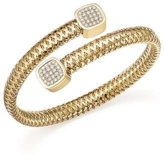 Roberto Coin 18K Yellow Gold Primavera Diamond Capped Bangle