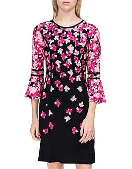 Calvin Klein Print Ruffle Sleeve Dress