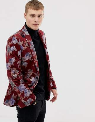 Burton Menswear jacquard blazer in burgundy