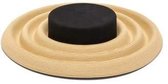 BEIGE Eliurpi - Circles Undulating Straw And Felt Hat - Womens