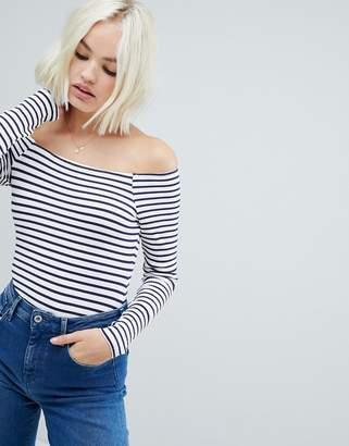 Bardot Asos Design ASOS DESIGN stripe long sleeve body in rib