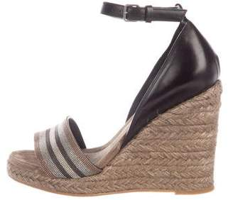 Brunello Cucinelli Monili-Accented Leather Wedges