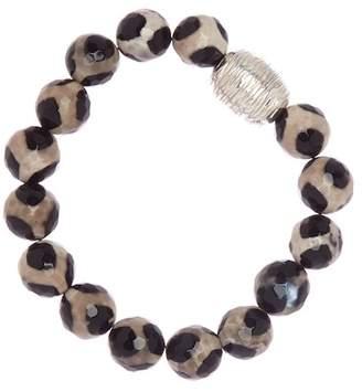 Simon Sebbag Sterling Silver Tortoise Agate Stretch Bead Bracelet