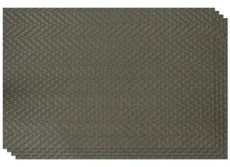 "Dainty Home Chevron Vinyl Woven Placemat, 12""x18"", Silver/Sage, Set of 4"