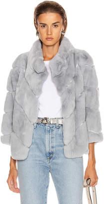 Yves Salomon Rex Rabbit Fur Jacket in Sky | FWRD