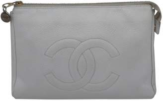 Chanel Vintage White Leather Clutch Bag