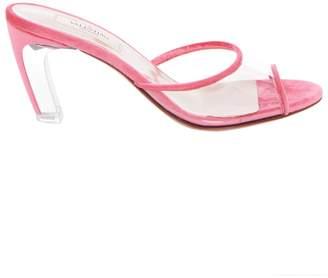 Valentino Pink Velvet Lucite Heel Open Toe Mule