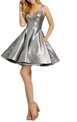Mac Duggal Metallic V-Neck Sleeveless Fit-&-Flare Dress