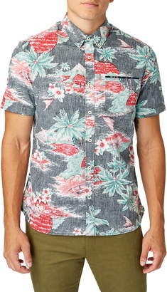 7 Diamonds The Hideaway Slim Fit Tropical Short Sleeve Button-Down Shirt