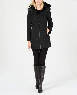 Calvin Klein Faux-Fur-Trim Quilted Coat