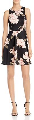 AQUA Floral High Neck Scuba Dress $78 thestylecure.com