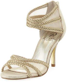 Adrianna Papell Atlas Mesh/Metallic-Rope High-Heel Evening Sandal