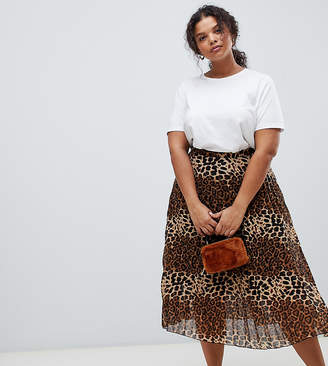 Glamorous Curve midi skirt in pleated leopard print