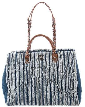 Chanel Frayed Denim Shopping Tote