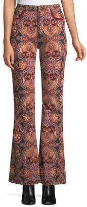 Etro High-Rise Flared-Leg Damask-Print Jeans