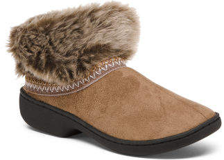 Faux Fur Collar Microsuede Slipper Boots