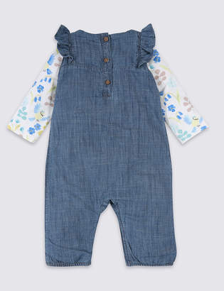 Marks and Spencer 2 Piece Embroidered Dungarees & Bodysuit Outfit
