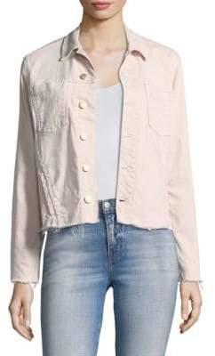 L'Agence Janle Slim Raw Hem Japanese Denim Jacket