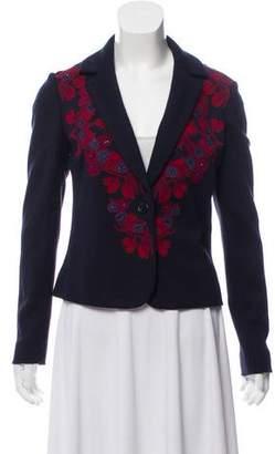 Tory Burch Embroidered Wool-Blend Blazer