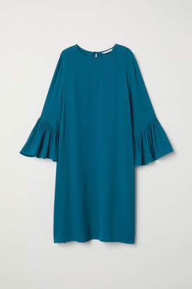 H&M Flounce-sleeved Dress - Turquoise