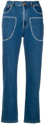 See by Chloe embroidered front pocket jeans