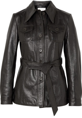3.1 Phillip Lim Belted Leather Jacket - Dark brown
