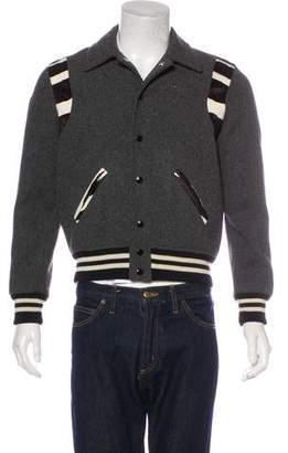 Saint Laurent Ponyhair-Trimmed Teddy Jacket