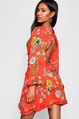 boohoo Satin Floral Frill Detail Open Back Skater Dress
