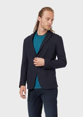 Emporio Armani Single-Breasted Jacket In Wool Crepe With A 3D Chevron Motif