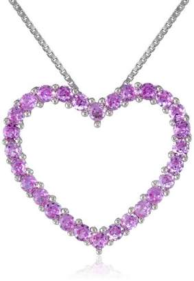 Sterling Silver and Created Sapphire Heart Pendant Necklace