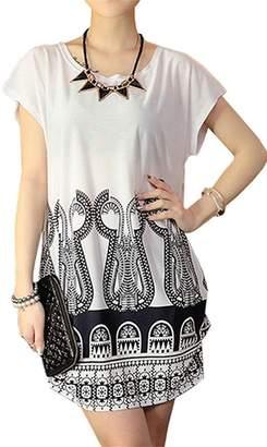 Milis Women's Summer Short Sleeve Casual Floral Printed Dress Loose Top Blouses