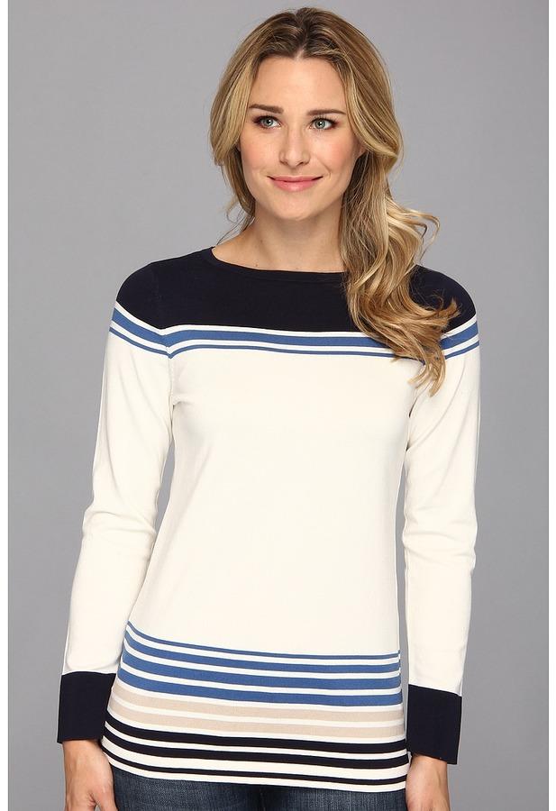 Pendleton Sunset Stripe Pullover (Ivory/Midnight Navy/New Blue Multi) - Apparel