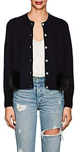 Barneys New York Women's Fur-Trimmed Cashmere Cardigan - Navy